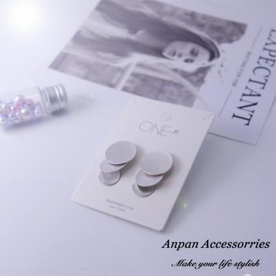 【ANPAN愛扮】韓東大門金屬幾何圓片925銀針耳釘式耳環