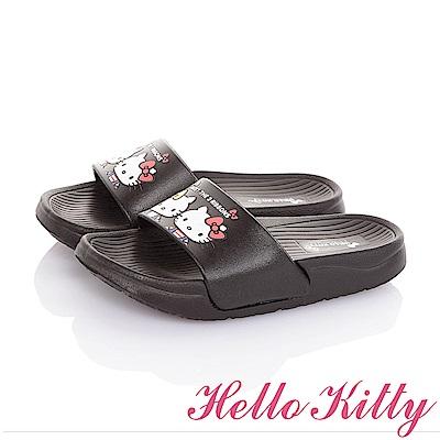 HelloKitty 雙胞胎系列 極輕量室內外減壓休閒拖鞋童鞋-黑