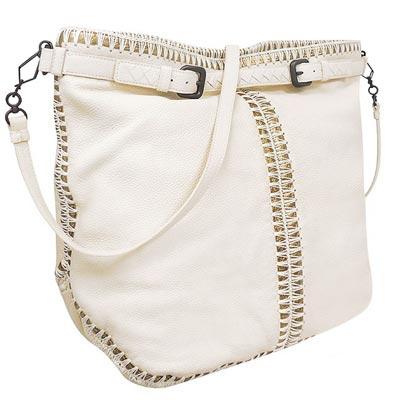 BOTTEGA VENETA 米白色編織小羊皮斜背/托特包-大型