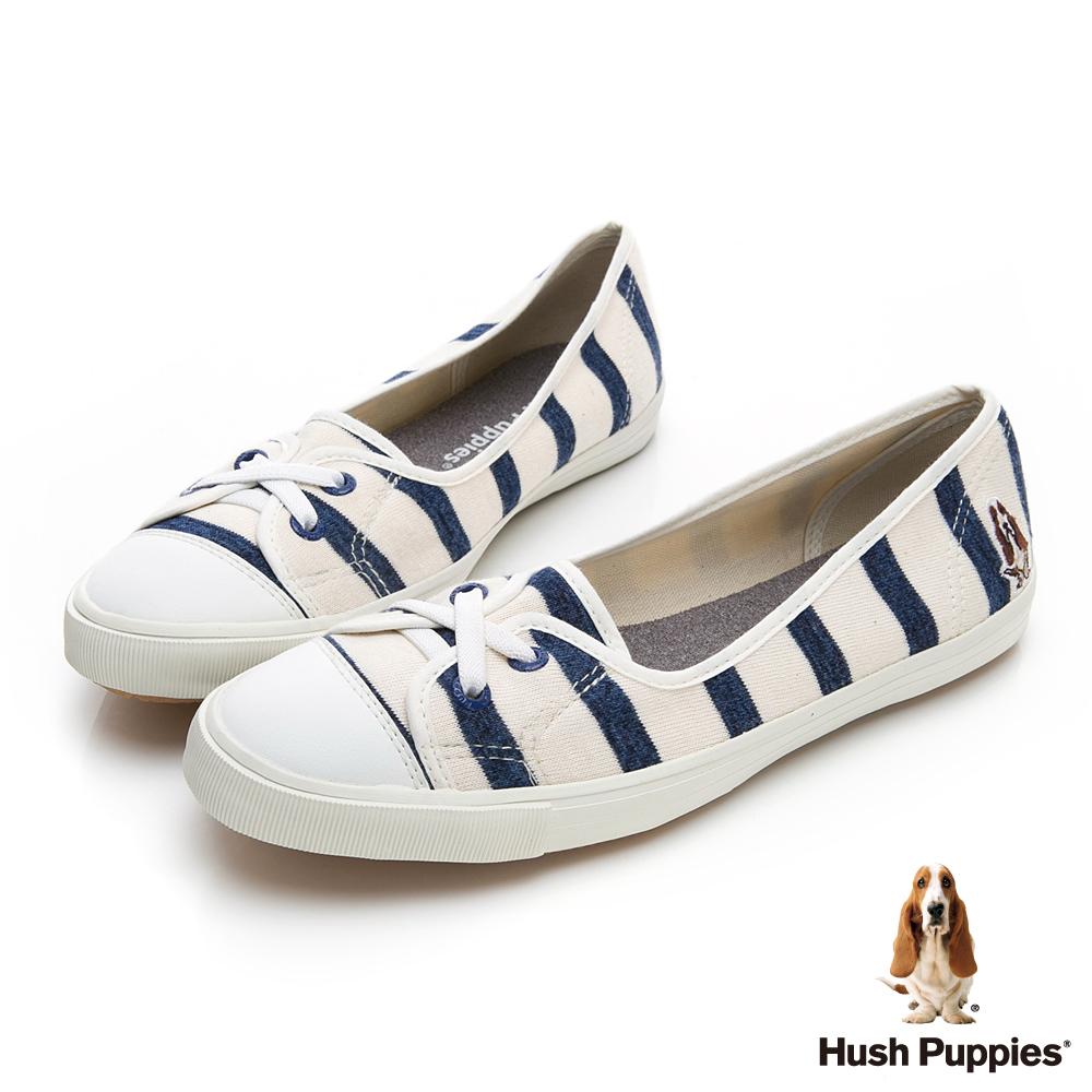 Hush Puppies 清爽條紋咖啡紗娃娃鞋-藍色