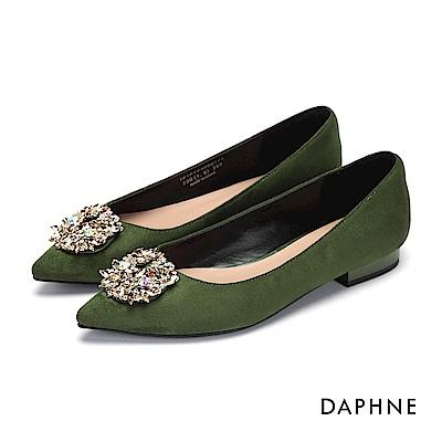 達芙妮DAPHNE 平底鞋-水鑽花飾尖頭絨布低跟平底鞋-綠