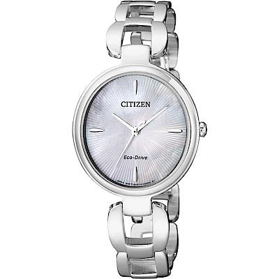 CITIZEN 星辰 L系列 限量光動能手鍊錶-白蝶貝/28mm(EM0420-89D)