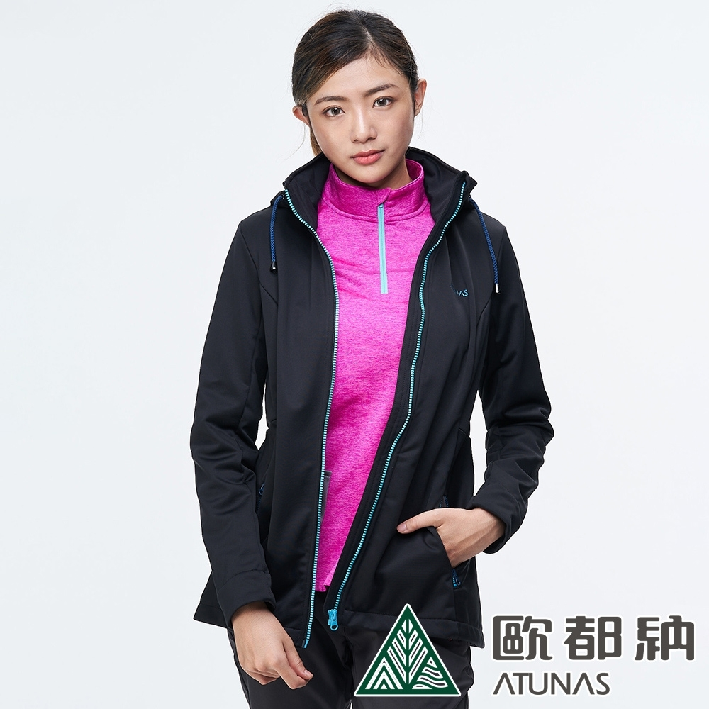【ATUNAS 歐都納】女款抗風SoftShell刷毛連帽外套A1-G1836W黑