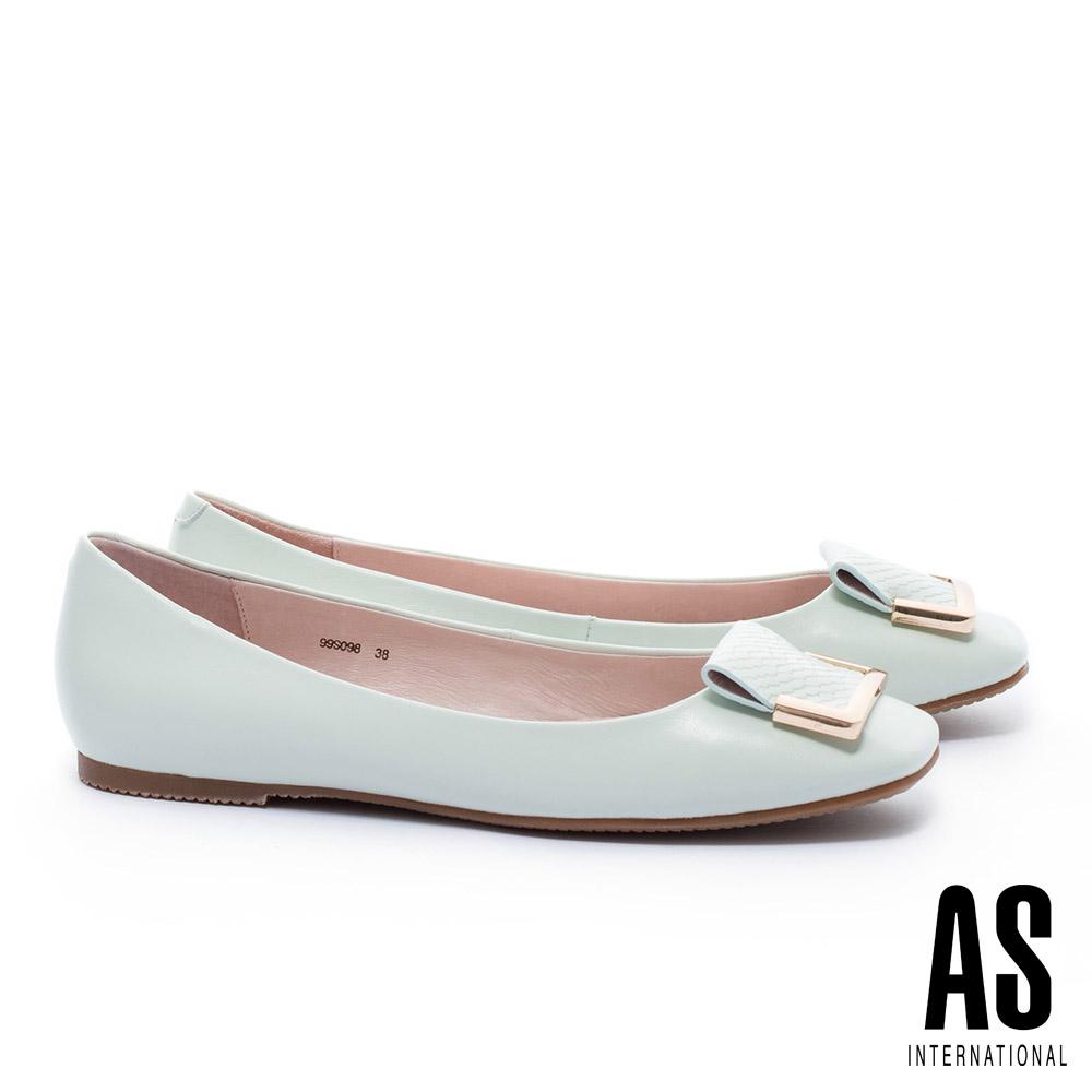 平底鞋 AS 簡約半方型飾釦反折設計方頭全真皮平底鞋-綠