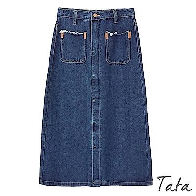 抽鬚雙口袋開叉牛仔裙 TATA