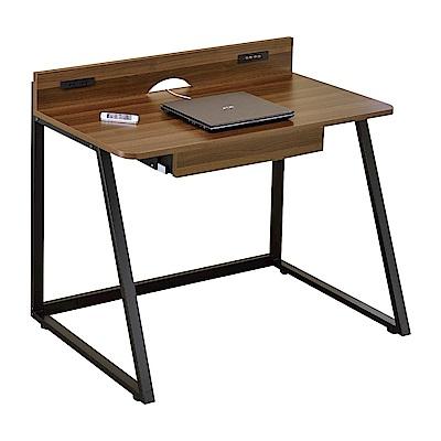 文創集 尼森時尚3.6尺木紋書桌/電腦桌(附USB插座)-110x58x82cm免組