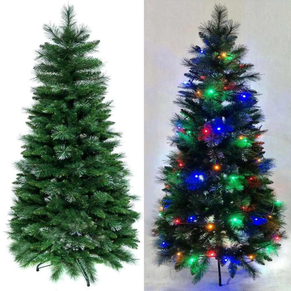 摩達客 6尺(180cm) 彈簧摺疊豪華松針混葉綠色聖誕樹+LED100燈串彩光一條