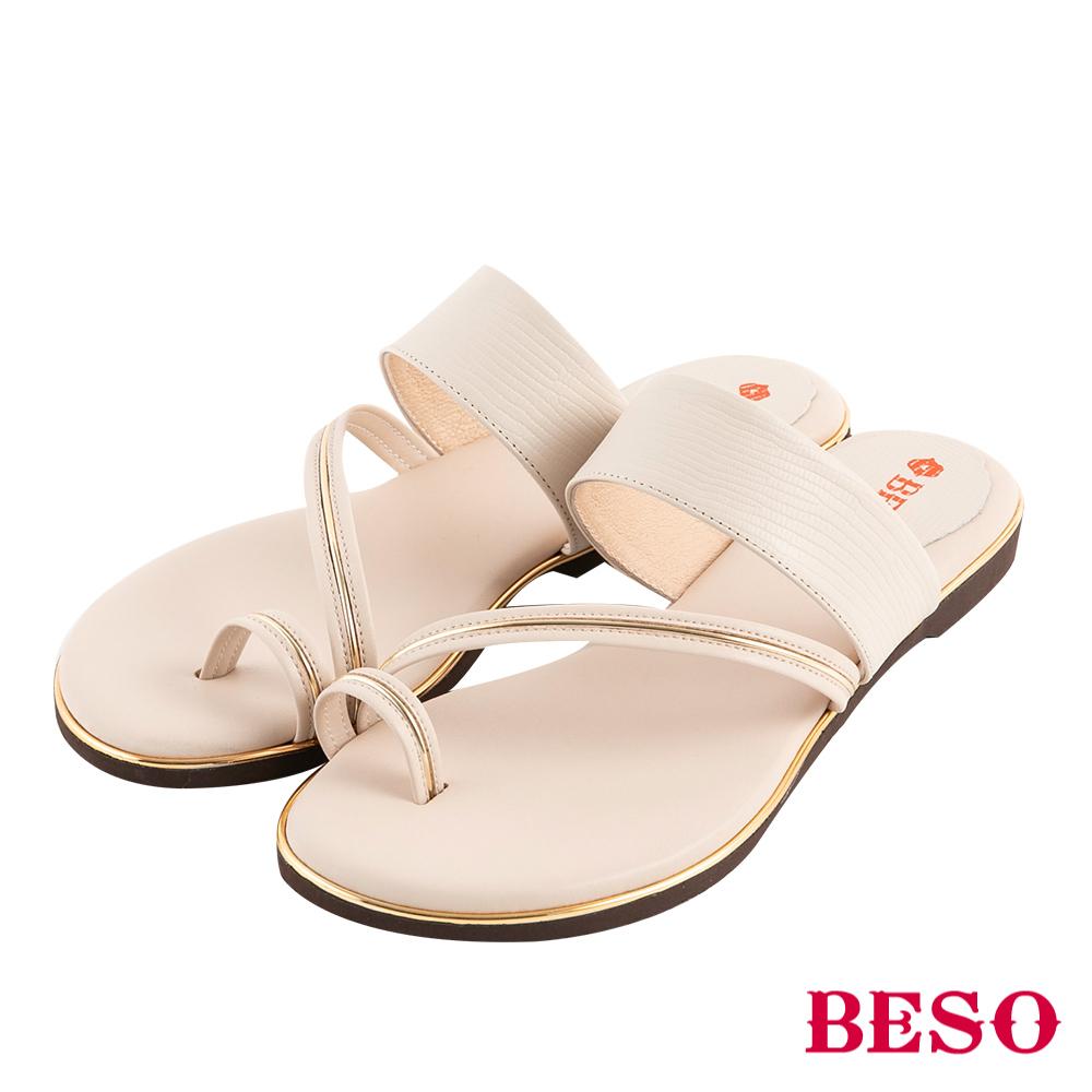 BESO 完美仲夏 金屬套指涼拖鞋~米
