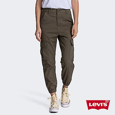 Levis 女款 高腰縮口工作褲 復古軍綠