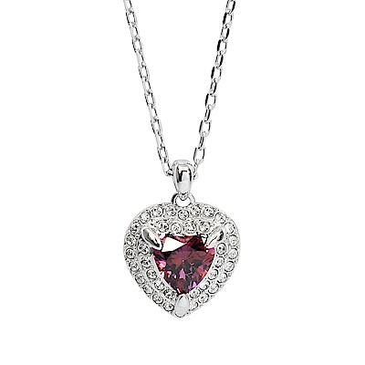 SWAROVSKI 施華洛世奇 ONE璀璨紅色水晶愛心銀色項鍊
