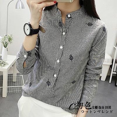 文藝刺繡直紋襯衫-黑色(M-2XL可選)   初色