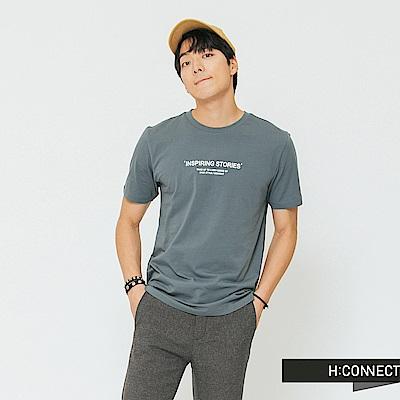 H:CONNECT 韓國品牌 男裝-正反圖印圓領T-shirt-藍