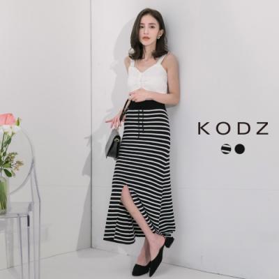 東京著衣-KODZ 時髦百搭針織彈力開衩長裙(共二色)