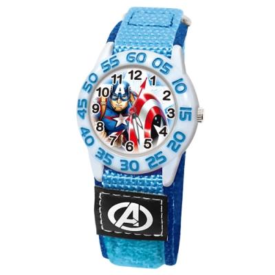 Disney迪士尼 Marvel漫威美國隊長自黏織帶錶33mm白殼藍字