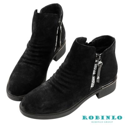 Robinlo 帥氣抓皺西部休閒短靴 黑色