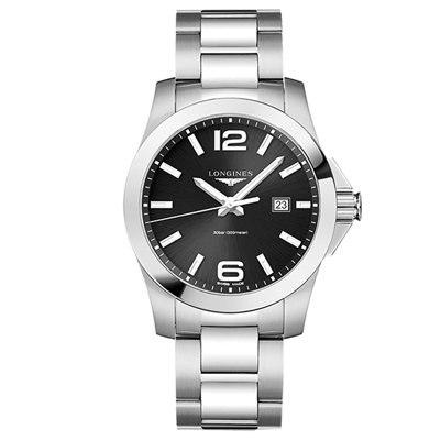 LONGINES 浪琴 300米石英黑面腕錶(L37604566)x43mm