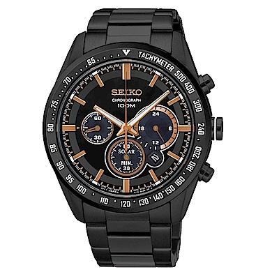SEIKO Criteria時尚率性太陽能計時腕錶/V175-0DK0K/SSC477P1