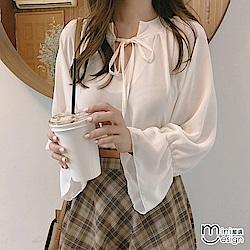V領綁帶喇叭袖雪紡上衣 白色-mini嚴選