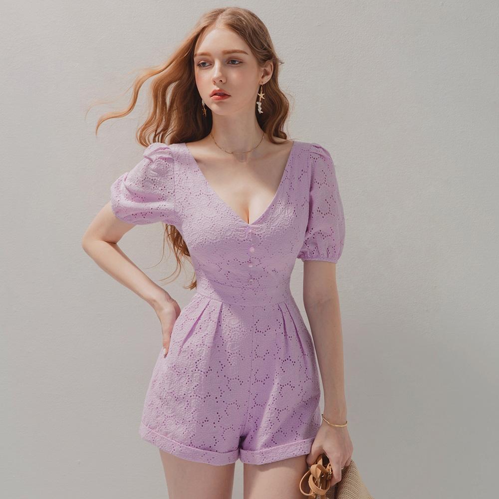 AIR SPACE 花蕾絲澎袖連身短褲(淺紫)
