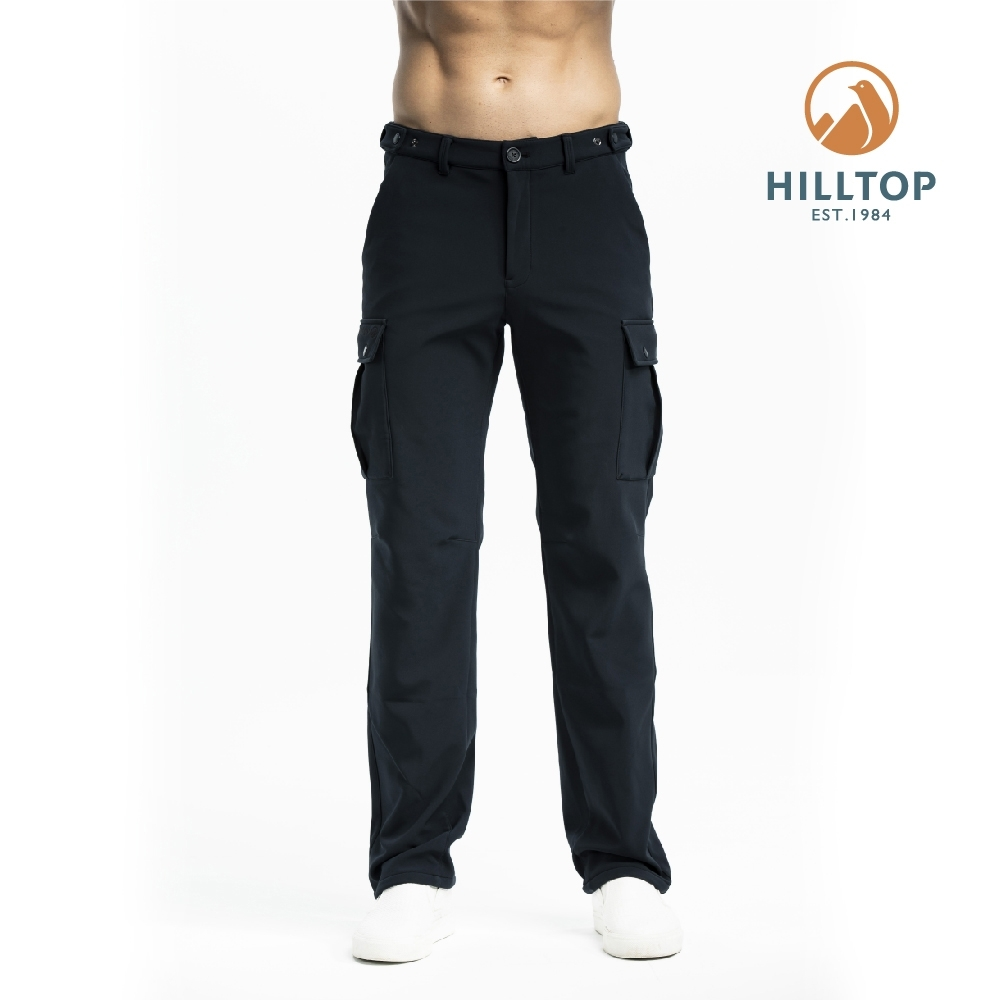 【hilltop山頂鳥】男款超潑水彈性保暖長褲H31ML5黑色