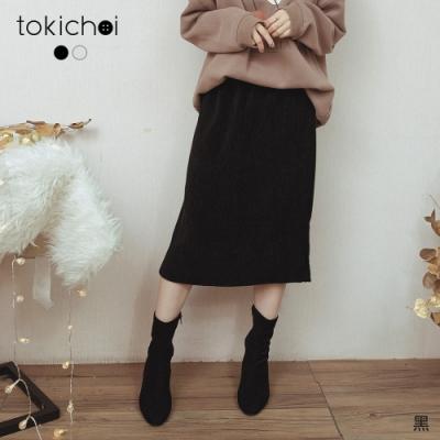 東京著衣 慵懶必學腰鬆緊坑條絨布磨毛中長裙(共二色)