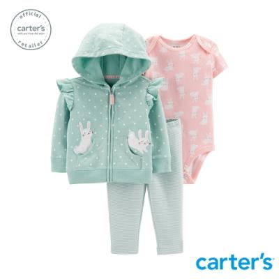 Carter's台灣總代理 兔子荷葉邊造型3件組套裝