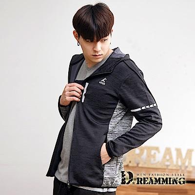 Dreamming 混色拼接彈力連帽運動休閒外套-共二色
