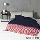 YVONNE COLLECTION 漸層條紋雙人四季被(6x7呎)-深藍/紅白條紋