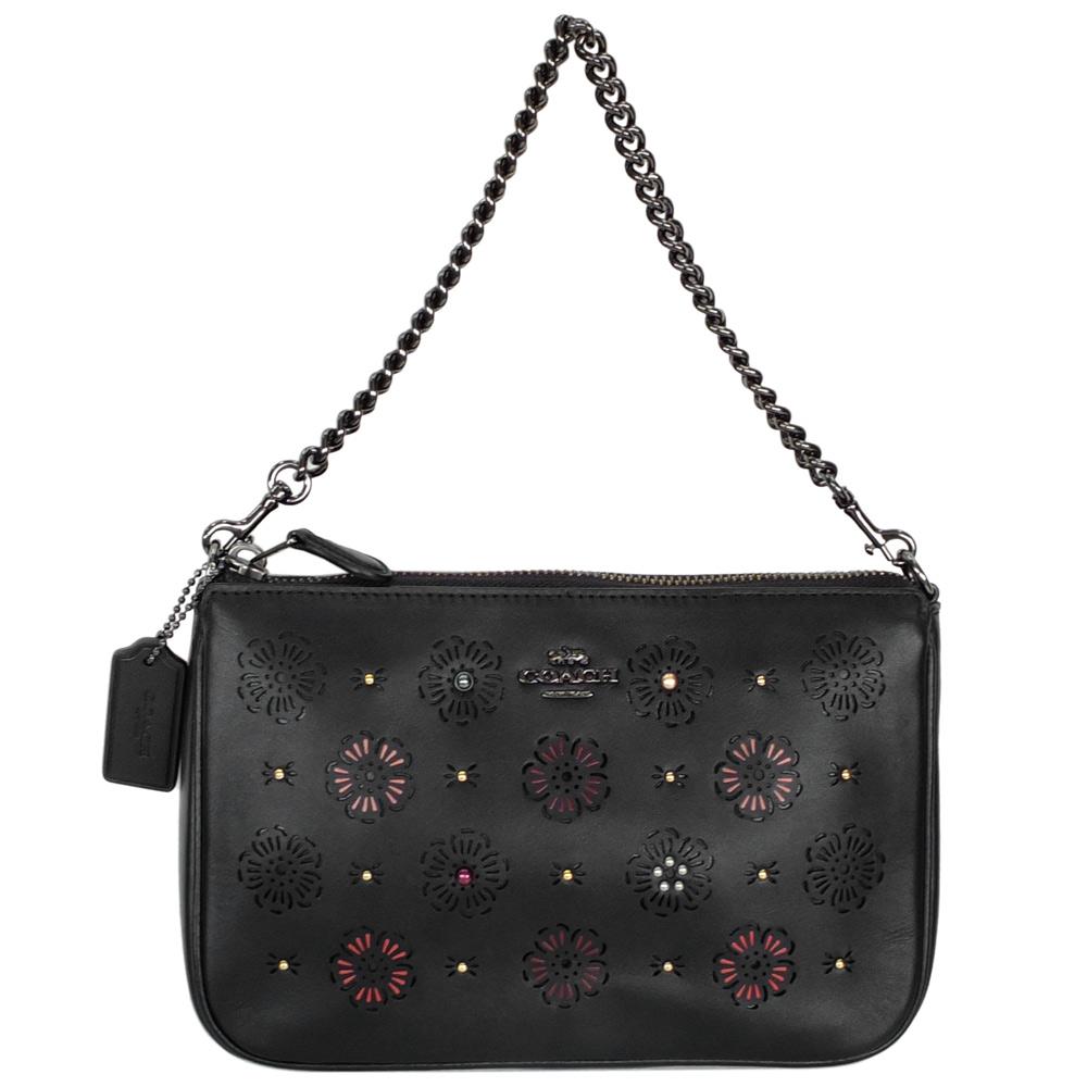 COACH黑色全皮鏤刻雕花金屬鍊帶肩背/手提掛小包