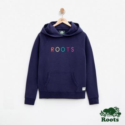 女裝Roots-彩色LOGO毛圈布連帽上衣-藍