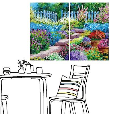 橙品油畫布 二聯 時尚無框畫掛畫-庭院花語 40x60cm