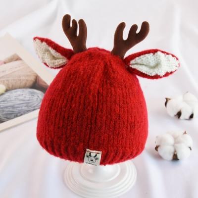Kori Deer 可莉鹿 麋鹿角嬰兒童秋冬加厚針織毛線帽