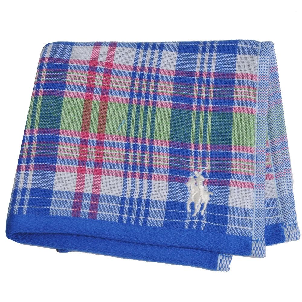 RALPH LAUREN POLO 刺繡LOGO格紋雙面用小方巾(寶藍系)