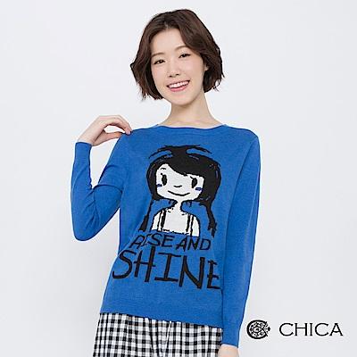 CHICA 晨日女孩圖騰字母羊毛針織衫(2色)