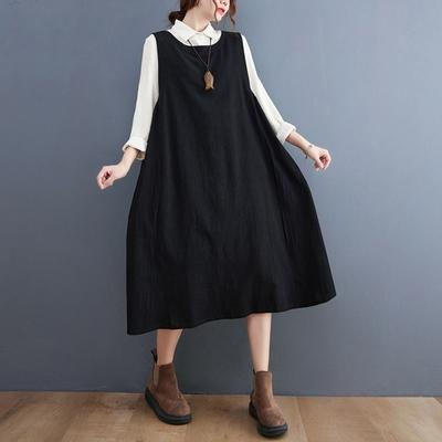【KISSDIAMOND】棉麻拼色馬甲背心洋裝(KDD-2035)