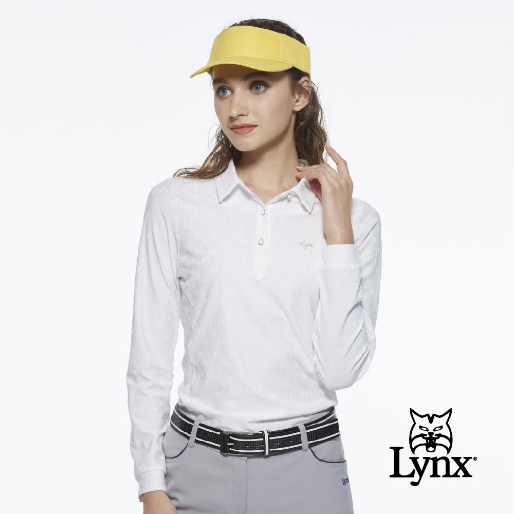 【Lynx Golf】女款合身款抗UV吸汗速乾Lynx字樣緹花布料長袖POLO衫-牙白色