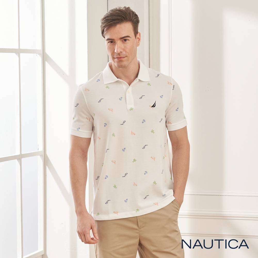 Nautica渡假風圖騰短袖POLO衫-白色