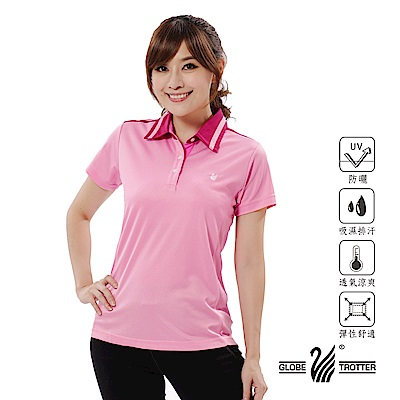 【遊遍天下】女款抗UV吸濕排汗機能POLO衫GS10012粉紅
