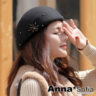 AnnaSofia 絢彩煙火點鑽 純羊毛硬式貝蕾帽畫家帽(酷黑)