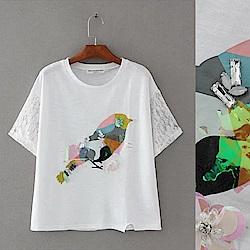 KT 小鳥印串珠亮片白色短袖T恤-白