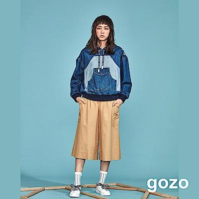 gozo 修身壓褶側開拉鍊七分寬褲(二色)