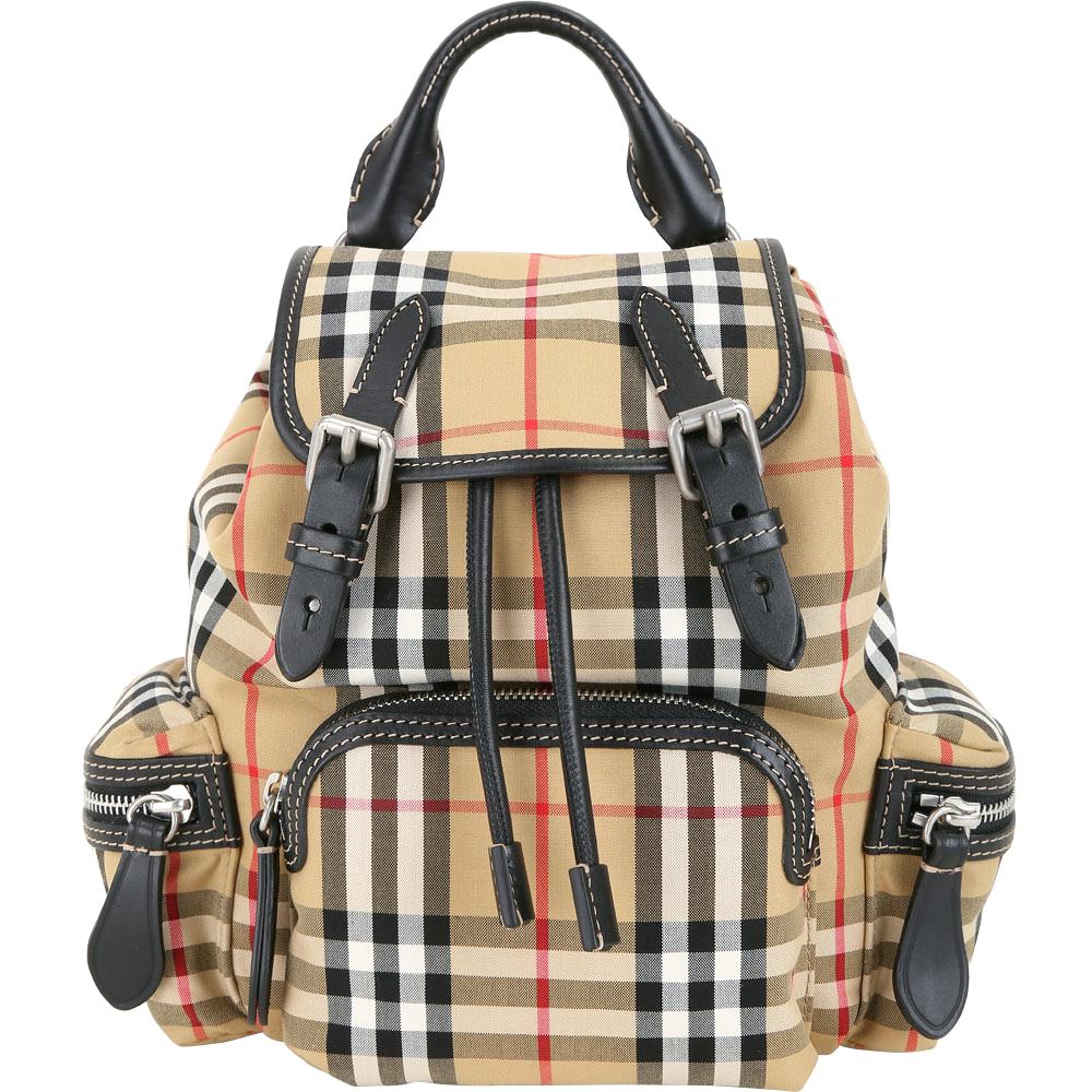 (無卡分期12期) BURBERRY The Rucksack 小型格紋拼接軍旅背包