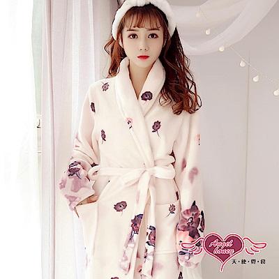 保暖睡袍 暈染落花 法蘭絨一件式連身綁帶睡衣(粉紫F) AngelHoney天使霓裳