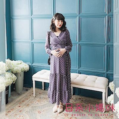 日系小媽咪孕婦裝-孕婦裝 高雅復古點點洋裝