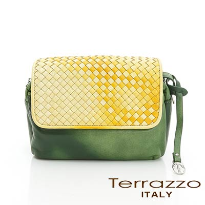 義大利Terrazzo - 時尚牛皮編織掀蓋側背真軟方包-黃+綠17G2839D10378