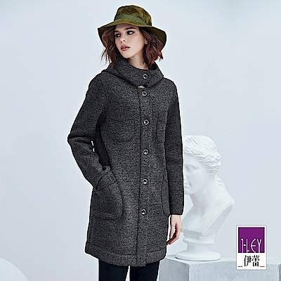 ILEY伊蕾 繭型厚長刷毛連帽外套(鐵灰)