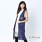 OUWEY歐薇 俏皮貼布繡針織罩衫(藍)