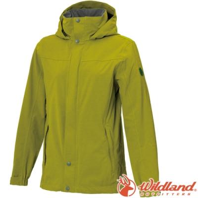 Wildland 荒野 W3911-40芥墨黃 女單件式防水透氣外套/防風防雨