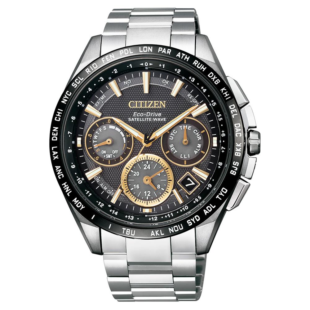 CITIZEN 星辰 GPS自動衛星對時定位鈦金時尚腕錶—香檳黃CC9015-54F @ Y!購物