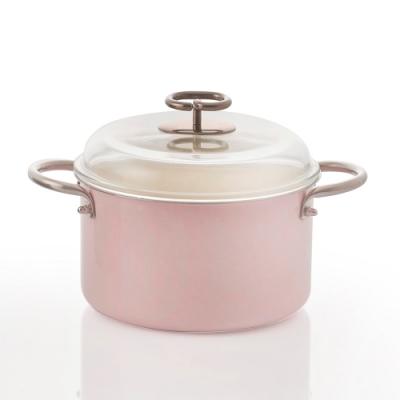 JIA Inc.虹彩鋼 不鏽鋼琺瑯雙耳鍋20cm(粉紅色)(快)